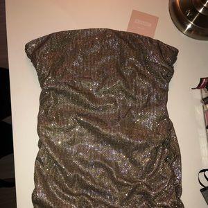 Missguided Dresses - Carli Bybel x Missguided Glitter Bandeau Dress